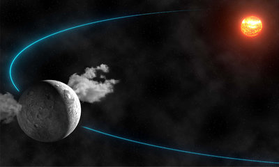 An artist's view of the emission of water by Ceres