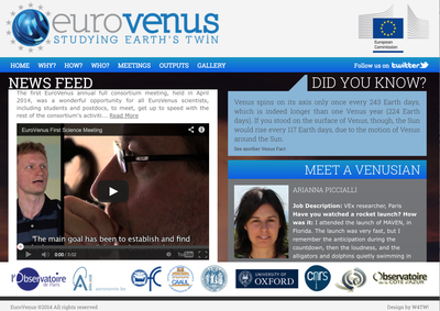 Home page of European project EuroVenus.